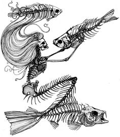 SkeletonMermaidCods - this wicked sketch is plastered on the front of my pink hoodie! Love it - Pina - best original clothing shop on Vancouver Island.