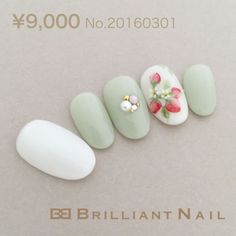 Pastel white green strawberry elegant simple gorgeous spring nail art 2927