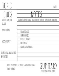 study-aholic: Cornell Notes Guide | This is just a simple guide I whipped up for myself for when I'm using Cornell notes to remind me about each of the pieces. Enjoy! ✿