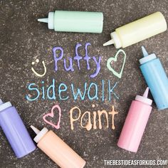 Puffy Sidewalk Paint - such a fun activity for kids! videos for kids fun Puffy Sidewalk Paint Fun Diy Crafts, Fun Crafts For Kids, Toddler Crafts, Diy Crafts Videos, Diy For Kids, Diy Crafts Summer, Crafts For Camp, Fun Things For Kids, Kids Outdoor Crafts