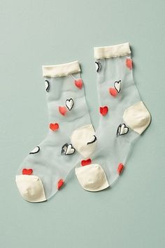 Heartfelt Sheer Crew Socks #Socks&Hosiery