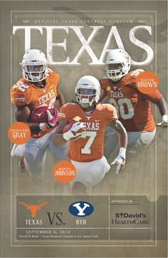 IMGProducts.net has got you covered for Texas Longhorns football! Check out last Saturday's game against BYU with the 2014 Official Texas Football Program. Program cover features Johnathan Gray, Marcus Johnson and Malcom Brown. // $3. @texassports