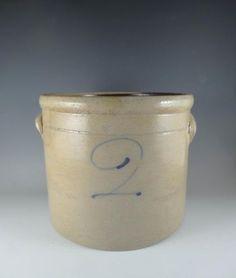 Handsome Antique 19th Century Blue Decorated 2 Gallon Stoneware Crock