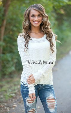 The Pink Lily Boutique - Just Because Ivory Sweater , $37.00 (http://thepinklilyboutique.com/just-because-ivory-sweater/)