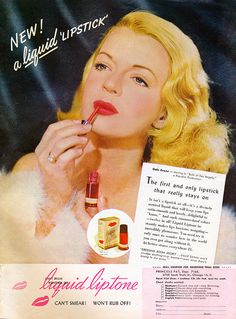Dale Evans in Liquid Liptone ad from May 1947 Screenland magazine
