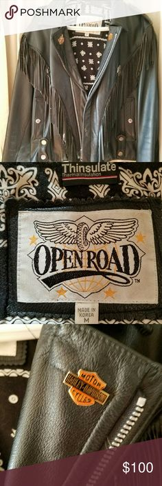 Open road black fringed leather jacket Zip out thinsulate liner ....comes with 4 )free pins...litely worn open road Jackets & Coats Performance Jackets