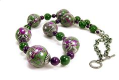 Eclectic Clay and Stone Necklace in Purple and Olive Green, Polymer Clay Jewelry by BobblesByCarol, $34.00 USD