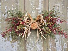 Small Country DRIED FLOWER Swag  Rustic and by theflowerpatch, $21.00