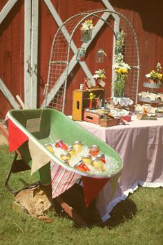 Why not put an old wheelbarrow or wagon to use as a caddy for cold drinks! I little hole or two won't matter, it will give the water some where to go when the ice melts! Rustic Wedding Inspiration, Wedding Ideas, Trendy Wedding, Elegant Wedding, Wedding Details, Wedding Stuff, Banquet, Drink Display, Barn Parties