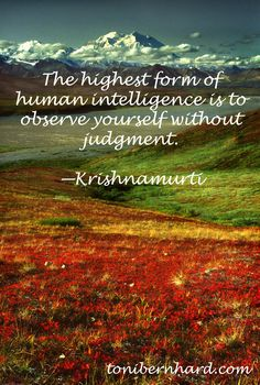 """""""The highest form of human intelligence is to observe yourself without judgment."""" —Jiddu Krishnamurti"""