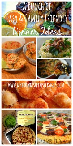 A bunch of easy and family friendly dinner recipes including: Baked Citrus Chicken, Thai Chicken Balls, Tuna Mornay with crunchy chip gratin and a pea and almond pesto, Healthy Cauliflower PIzza Crust, Coconut Prawns, Leek Lemon Pea and Proscuitto Risotto, Chorizo and Pumpkin Frittata