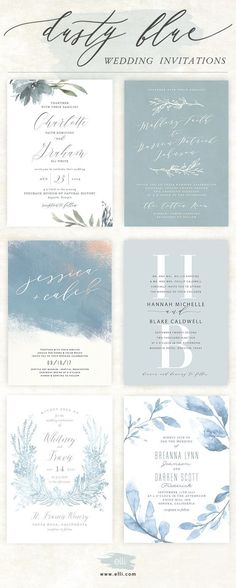 Gorgeous selection of Dusty Blue wedding invitations. See more wedding designs at Elli.com. #weddinginvitation