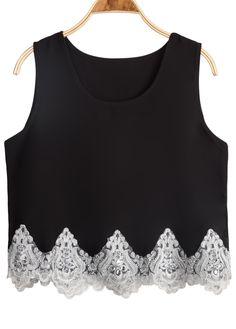 Black Sleeveless Contrast Lace Chiffon Vest 14.67
