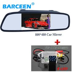 "Wire car parking camera bting 8 led lights and the universal car rear mirror 4.3"" black shell for Mitsubishi Lancer"