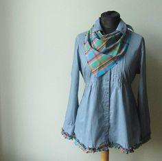 L/XL Dusty Blue Tie Back Blouse Tunic with Plaid Triangle Scarf, Cowgirl Clothing, Womens Empire Waist Shirt, Upcycled Recycled Clothing