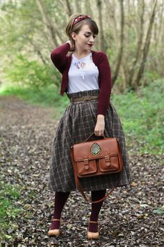 Pin-up inspired back to school look with Harry Potter satchel