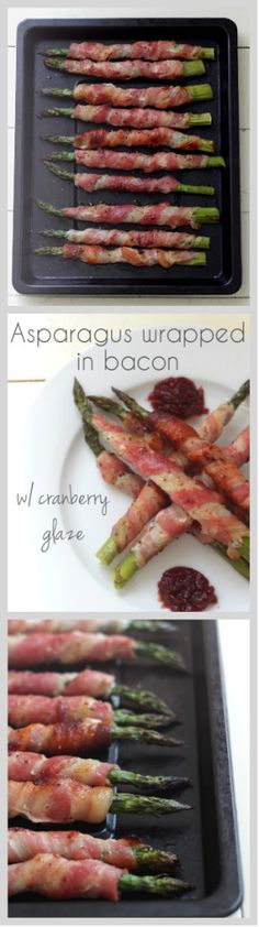A delicious starter perfect for any special occasion. Stalks of asparagus wrapped in bacon make a delicious combination of salty and sweet. Cranberry sauce glaze gives these bad boys a special wow factor! Gluten and dairy free (make sure bacon is gluten free). Click through for recipe. www.isleofflora.com