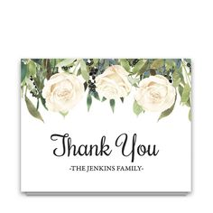 This is a folded A2, 5.5 x 4.25 funeral thank you note card. A beautiful script thank you sits on the outside cover, leaving you an area inside to add special notes to friends and family. Cards arrive printed on our gorgeous #120 card stock with white or linen colored cotton envelopes.