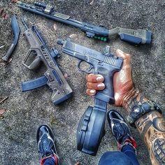 Blue makes me happy Revolver, Rifles, Combat Medic, Assault Weapon, Weapon Of Mass Destruction, Tac Gear, Custom Guns, Doomsday Prepping, Fire Powers