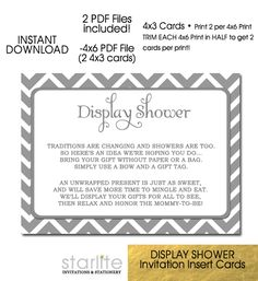 Baby Display Shower Card Grey White Chevron - 4x3 size INSTANT DOWNLOAD    https://starliteprintables.indiemade.com/product/baby-display-shower-card-grey-white-chevron-4x3-size-unwrapped-gifts-request-instant-downloa