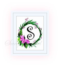 Printable monogram letter S floral PINK wall by SweepingGirlSays