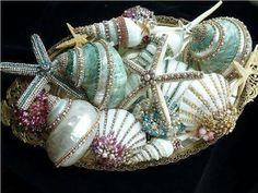 Beautiful Encrusted Sea Shells!!! Bebe'!!! So pretty!!!