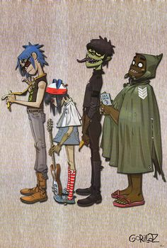 Gorillaz (From left to right:2d,Noodles,Murdock,Rustle)