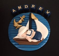Fondant navy gold baby nautical sailor cake topper for Baby Shower, Birthday, Party Favor Baby Cake Topper, Fondant Cake Toppers, Fondant Baby, Fondant Cupcakes, Sailor Cake, Marine Baby, Sailor Baby Showers, Fondant Decorations, Navy Gold