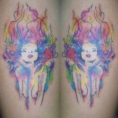 Tattoo de hoje #aquarela #tattoo #tattooink #tattoomylife #tatuaje #tatuagem #tattooink #ink #inkget #inkmaster #inkedmag