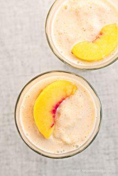 Easy Peach Fruit Smoothie Recipe shewearsmanyhats.com