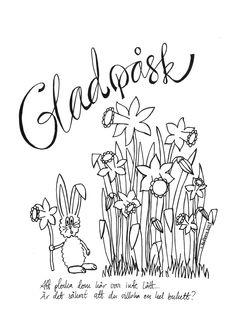 Glad påsk!  Påskbrev med jättestora påskliljor. Att skriva ut och färglägga. Easter letter for coloring.  #utskrift #påskbrev #måla #påsk