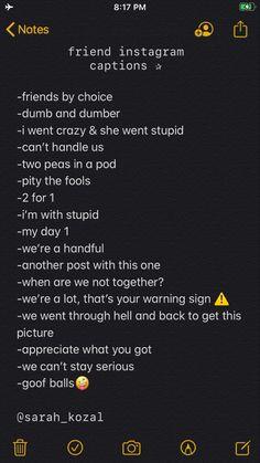 Best Friend Captions, Instagram Captions For Friends, Cute Captions, Good Instagram Captions, Instagram Funny, Instagram Caption Ideas, Simple Captions For Instagram, Best Photo Captions, Instagram Story