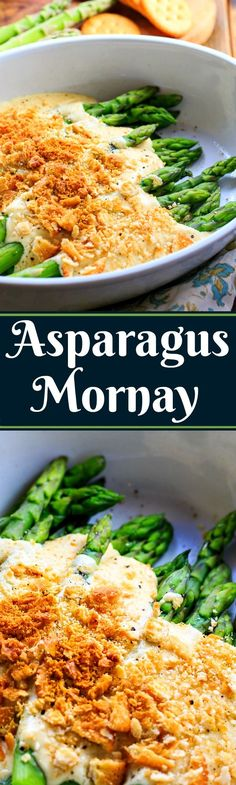 Fresh tender Spring asparagus covered in a cheesy sauce and cracker crumbs and broiled until warm and golden. Asparagus Mornay is perfect for a Spring Brunch.
