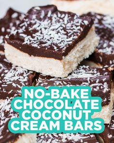 Chocolate Coconut Cream Bars Recipe by Tasty