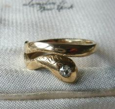Victorian 18ct Gold Diamond Head Snake Ring