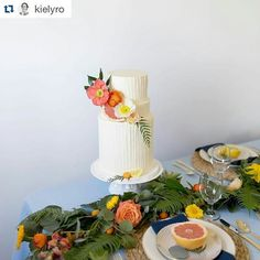 In love with this juicy Citrus photoshoot from Thursday! I did an extra tall and skinny buttercream textured cake  Event Planner: @vintage.beloved Florist: @pbfloristry  Dress: @janay.marie Venue: @photocollectivestudios Model: @misskara93 Coordinator & Photographer: @kielyro