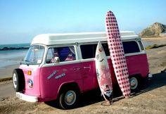 Pink VW surf bus, Volkswagen, kombi