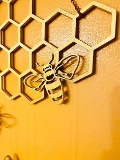 Honeycomb Decorations, Bee Decorations, Wood Wedding Signs, Wood Signs, Wedding Decor, Bee Nursery, Hanging Wall Art, Wall Hangings, Bee Honeycomb