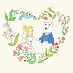 Kasia Dudziuk - Kasia Dudziuk_Wedding Card_Bear And Princess Flowers