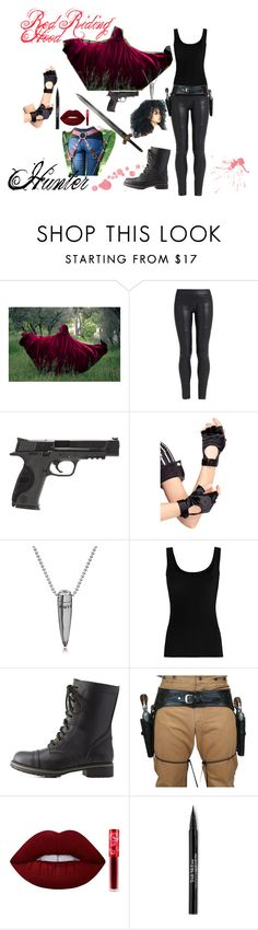 Red Riding Hood Hunter Costume by milleysoares on Polyvore featuring moda, Twenty, The Row, Charlotte Russe, Leg Avenue, Trish McEvoy, Lime Crime and Smith & Wesson
