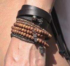 promo code df198 bc433 Sheryl Lowe   Exclusive Triple Wrap Sandalwood Bracelet with Diamond Hamsa  Charm   goop.com