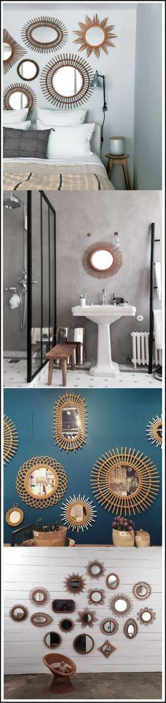 tendance-rotin-osier-miroirs-en-rotin-chiara-stella-home. Mid Century Design, Decoration, Furniture Design, Sweet Home, Rustic, Bedroom, Interior, Table, House