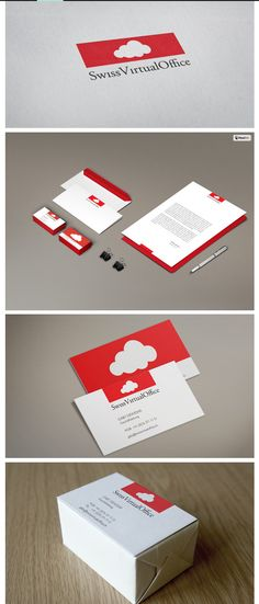Branding fro Swiss Virtual Office - an Office management outsourcing service.  Inspiration for Logo elements  - swiss flag/cloud computing #swiss #switzerland #branding #ci #logo #cloud #logotype #stationery