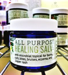 All Purpose Healing Salve 1 cup organic solid coconut oil - I use Gold Label by Tropical Traditions 1 cup organic olive oil 4 tablespoons beeswax pastilles ½ teaspoon vitamin e oil (optional) PER 4oz JAR add the following amounts: 10 drops pure lavender essential oil 8 drops pure lemon essential oil 6 drops pure melaleuca essential oil Four - 4 oz glass mason jars