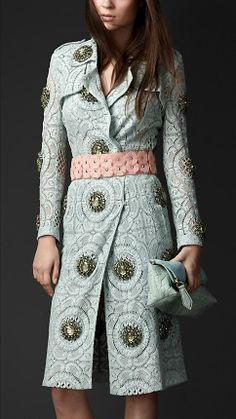 I love this, I love coats, this is beautiful,  I love it Burberry Prorsum S/S14 Gem-Embellished Lace Trench Coat