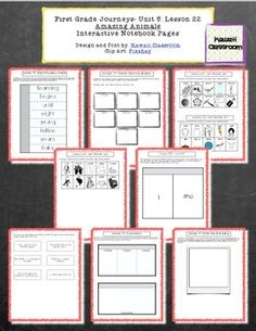 """These interactive notebooking pages are a great supplement to what is already included in the Journey's curriculum. I find that my students get more excited doing these types of activities rather than just workbook pages. This document includes:-High Frequency Words Flip book-Vocabulary Flashcards for """"Amazing Animals""""-Word/Picture charts for the 3 spelling patterns of /ur/."""