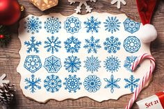 500 Snowflake Vector Ornaments by pixaroma on @creativemarket