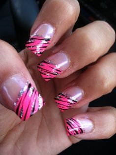 zebra nails - change the pink because I don't do pink nails..