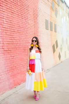 Jennifer Lake Style Charade in a Mara Hoffman colorblock midi skirt, Sam Edelman Yaro sandals, and a Sam Edelman Bailey clutch in Dallas Indian Gowns Dresses, Indian Fashion Dresses, Dress Indian Style, Indian Designer Outfits, Girls Fashion Clothes, Indian Outfits, Designer Dresses, Fashion Outfits, Stylish Dresses
