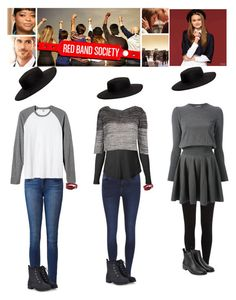 """Red Band Society: Emma - casual, lazy, and dressy outfits (left to right)"" by catlyp ❤ liked on Polyvore featuring Cast of Vices, Paige Denim, Bedeck, ONLY, James Perse, Old Navy, VIVETTA, River Island, Alexander McQueen and Monki"